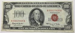 1966   Fowler Red Seal $100 US Note