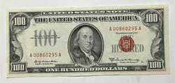 1966 A  Kennedy Red Seal $100 U S Note near Unc