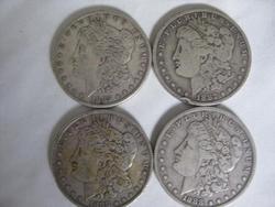 Four Morgan  Silver Dollars 1885, 1887 O, 1888 P&O