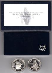 2000 Leif Ericson 2-pc Proof Commemorative Set. Box/CoA