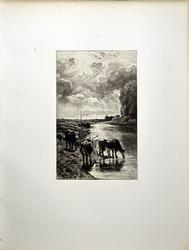 Rare Antique Etching by Troyon Circa 1897