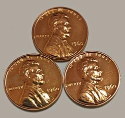 3 1960 Small Date Proof Lincolns