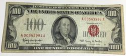 1966   Fowler Red Seal $100 FRN