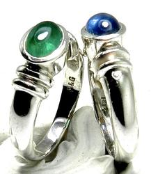 Matching Emerald & Sapphire White Gold Rings
