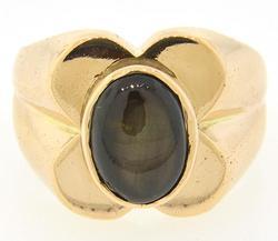 Black Star Sapphire Ring in 18K