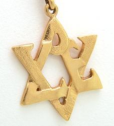 14kt Gold Love 6 Side Star Necklace