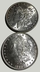 2 Unc 1886 Morgan Dollars from a roll