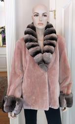 Brand New Pale Rose Sheared Beaver Jacket