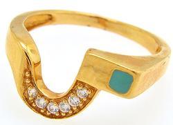 Unique Design 10kt Gold CZ Accents Ring