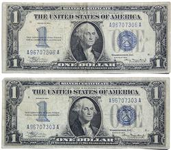 2 1934 Funny Back $1 Silver Certificates
