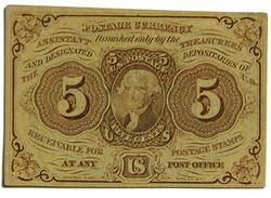 First Series 5 Cent 1862  Jefferson Fractional  Note