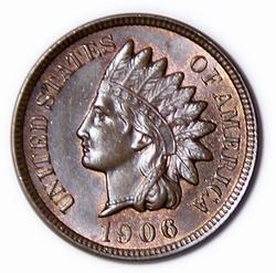 1906 Choice Red Brown BU Indian Cent