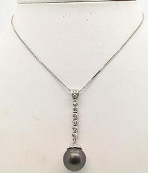 Black Tahitian Pearl & Diamond Chain Necklace