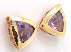 Ladies 14kt Gold 2+ctw Amethyst With Diamond Accent