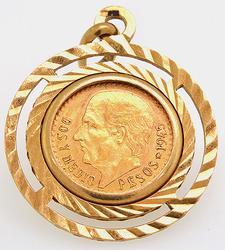 Mexico 2 1/2 Peso gold coin pendant