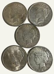 5 Peace Dollars 1922 1923 1924