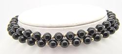 Multi-Row Black Onyx Necklace With 14kt Gold Clasp
