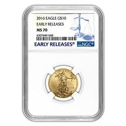 2016 $10 Gold Eagle 1/4oz, NGC MS70