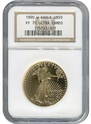 1990-W PF70 $50 American Eagle, 1oz Gold, NGC