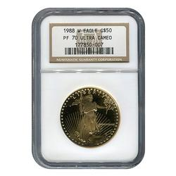 1988-W PF70 $50 American Eagle, 1oz Gold, NGC