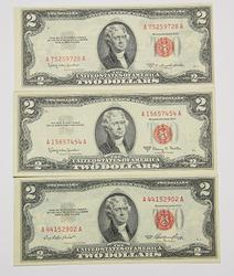 3 Different  $2 Choice Unc 1953  Red seal US Notes