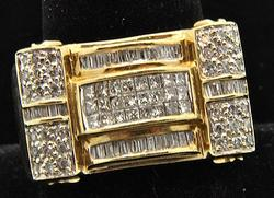 1+ctw Gents 14kt Gold Diamond Ring