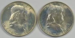 2 Lovely Near Gem BU 1948 Franklin Half Dollars. FBL
