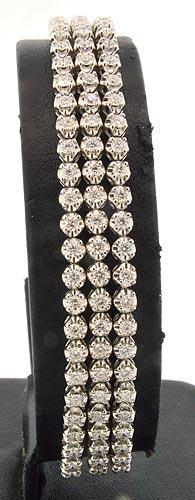 3.63 CTW Triple Row Diamond Tennis Bracelet