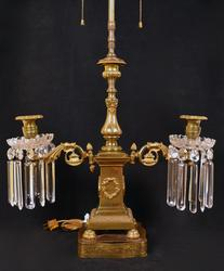 Converted 3 Arm Brass Candelabra Electric Table Lamp
