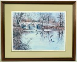 Signed River Mallards Lithograph, Harry L. Richardson