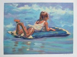 Signed Limited Edition Serigraph On Paper Surfer