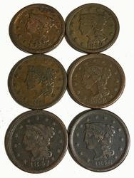1838 1846 1847 1849 1851 and 1856 Large Cents