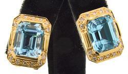 10.25 CTW Blue Topaz and VS Diamond Earrings