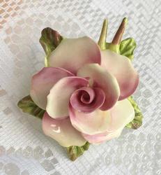 English, Handpainted, Porcelain 'Flower' Pin