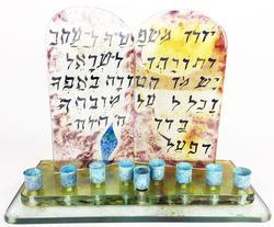 After Marc Chagall Lovely Hand Blown Art Glass Menorah