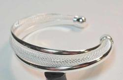 Pretty Silver Plated Twist Mesh Cuff Bracelet