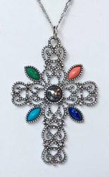 Romanesque, Silver Tone 'Cross', With Stones, Necklace