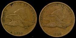 2 Sharp 1858 SL Flying Eagle Cents