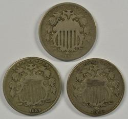 1869, 1882, & 1883 Shield Nickels. Collectible