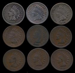 9 Diff. Better Date Indian Head Cents 1859-1878