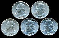 5 Diff. Nearly Gem BU 'P' Mint Washington Quarters