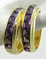 18k Gold Amethyst Hoop Earrings