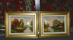 Pair of enamel on copper pictures