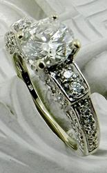 Ornate Vintage Diamond Engagment Ring, 18k
