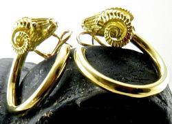 Ram Earrings with Ruby Eyes, 18kt Gold
