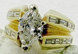 Modern 1 CT marquise diamond engagement ring