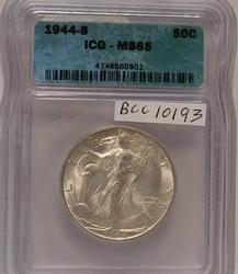 1944-S Walking Liberty Half Dollar, ICG MS-65, full Gem