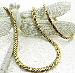 Italian Herringbone 14kt Gold Jewelry Set