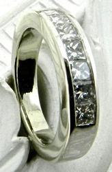 Princess cut channel set diamond band