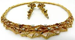 Unique Diamond Necklace & Earring Set in 18KT Gold